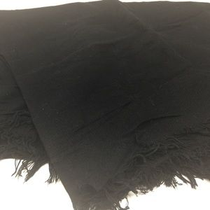 Soft thin material solid black scarf
